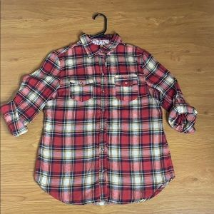 Passport Thick Flannel Red Long Sleeve Size Medium